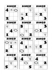 English Worksheet: BINGO - weather and numbers