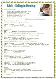 English Worksheets: Adele - Rolling in the deep