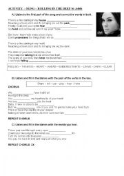 English Worksheets: song adele ROLLING IN THE DEEP
