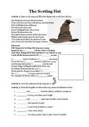 graphic about Printable Sorting Hat Quiz named The Sorting Hat (music, quiz, and adjectives) - ESL worksheet