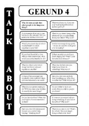English Worksheet: Gerund - infinitive 4 - conversation cards (editable)