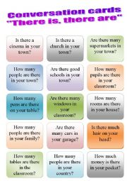 English Worksheet: Conversation cards - there is there are