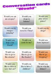 English Worksheet: Conversation cards WOULD