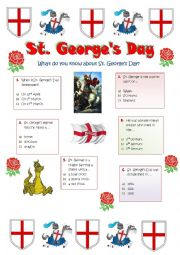 English Worksheet: St. George�s Day -23rd April - England�s National Day