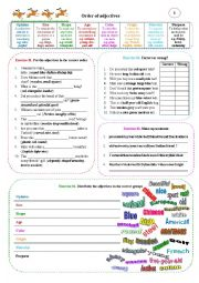 English Worksheet: Order of adjectives 01