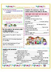English Worksheet: Conditional Sentences Type 1