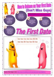 FIRST DATE - (Part 2 of 2) How to Behave on Your First Date (10 Pages) with 8 Situations + 11 exercises  about FIRST DATES