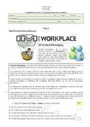 English Worksheets: Instant messaging - communication at the workplace