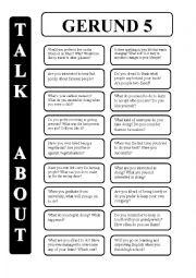 English Worksheet: Gerund - infinitive 5 - conversation cards (editable)