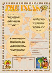 English Worksheets: The Incas