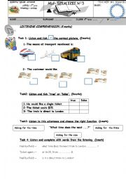 English Worksheet: mid term test 3  for 8TH  form