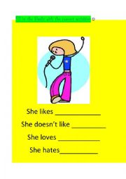 English Worksheets: LIKE NOT LIKE HATE AND LOVE