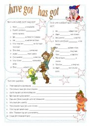 English Worksheet: have has got