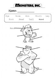 English Worksheets: Monsters Inc. Body Parts