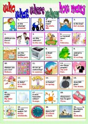 English Worksheets: who what where when how many