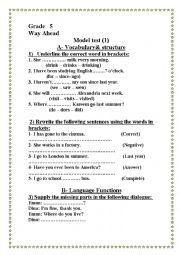 English Worksheets: varied questions for primary students