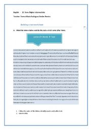 English Worksheets: Building a text