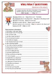 English Worksheets: who/what questions to the subject