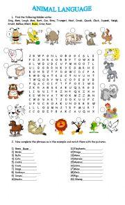 English Worksheets: ANIMAL LANGUAGE