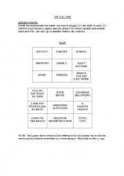 English Worksheet: Tic - tac - toe