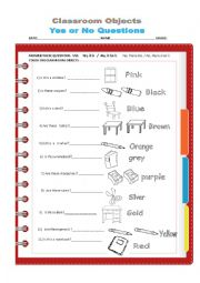English Worksheets: CLASSROOM OBJECTS. YES OR NO QUESTIONS