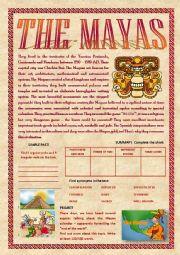 English Worksheets: The Mayas