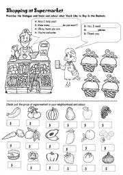 English Worksheet: Shopping at Supermarket (Dialogue Practice)