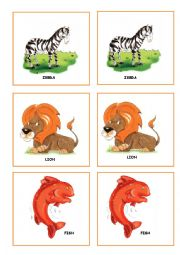 English Worksheet: ZOO ANIMALS MEMORY GAME PART 1