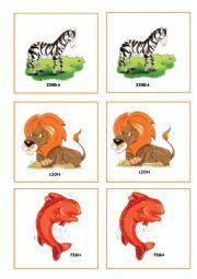 English Worksheet: ZOO ANIMALS MEMORY GAME PART 1