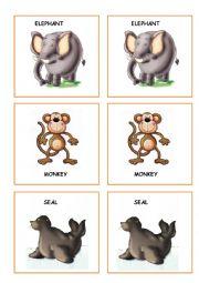 English Worksheet: ZOO ANIMALS MEMORY GAME PART 2