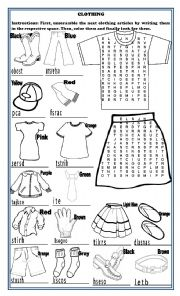 English Worksheet: Clothing, Coloring and Unscramble and Crossword Puzzle: 3 Activities in 1 Page
