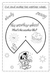 English Worksheet: the weather wheel (2 pag)