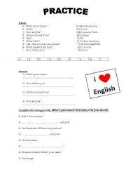 English Worksheets: Greetings practice