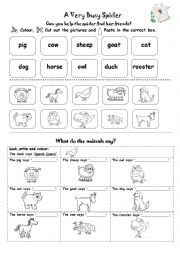 the very busy spider colour cut and paste exercise esl worksheet