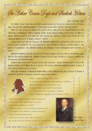 English Worksheet: Sir Arthur Conan Doyle and Sherlock Holmes