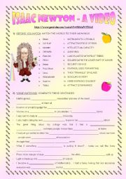 English Worksheet: Isaac Newton - a video