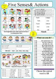 English Worksheet: Senses & Action Verbs