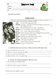 English Worksheet: English test 8th grade (Food)