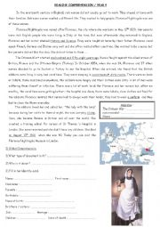 English Worksheets: Reading comprehension about Florence Nightingale (part 1)