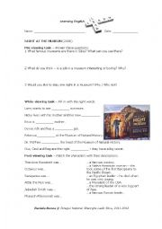 English Worksheet: Night at the museum - Tasks and Test