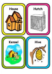 English Worksheet: ANIMAL HOMES - Flash Cards - Part 1
