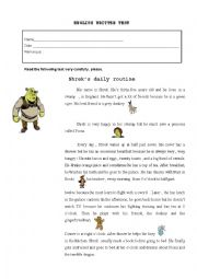 English Worksheet: Shrek´s routine