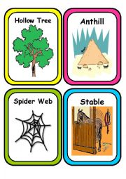 English Worksheets: ANIMAL HOMES - Flash Cards- Part 2