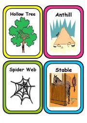 English Worksheet: ANIMAL HOMES - Flash Cards- Part 2