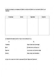English Worksheets: Some (less) Basic Animals II