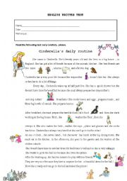 English Worksheet: cinderella�s daily routine