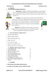 English Worksheets: A General Assessment Test for Elementary Level Learners