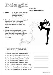English Worksheet: It�s Magic (song by Pilot, cover by Selena Gomez)