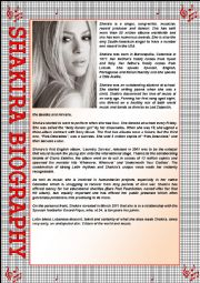 English Worksheet: Shakira�s Biography + Activities