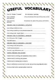 Useful phrases and words while writing a complaint letter. Level: intermediate. Age: 14-17. Downloads: 46